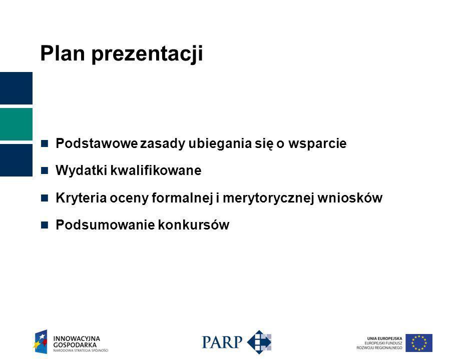 Plan prezentacji Podstawowe zasady ubiegania się o wsparcie Wydatki kwalifikowane Kryteria oceny formalnej i merytorycznej wniosków Podsumowanie konkursów