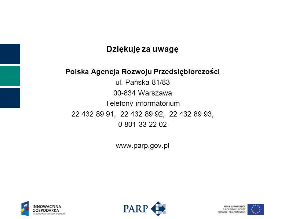 Dziękuję za uwagę Polska Agencja Rozwoju Przedsiębiorczości ul.