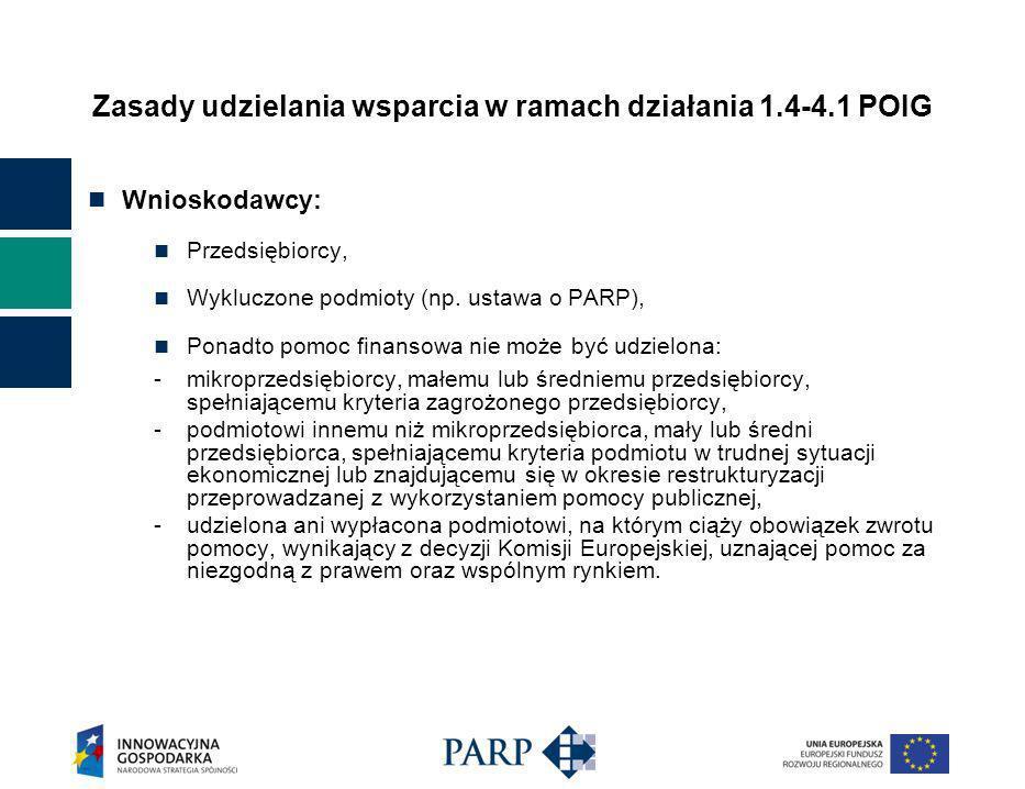 Zasady udzielania wsparcia w ramach działania 1.4-4.1 POIG Wnioskodawcy: Przedsiębiorcy, Wykluczone podmioty (np.