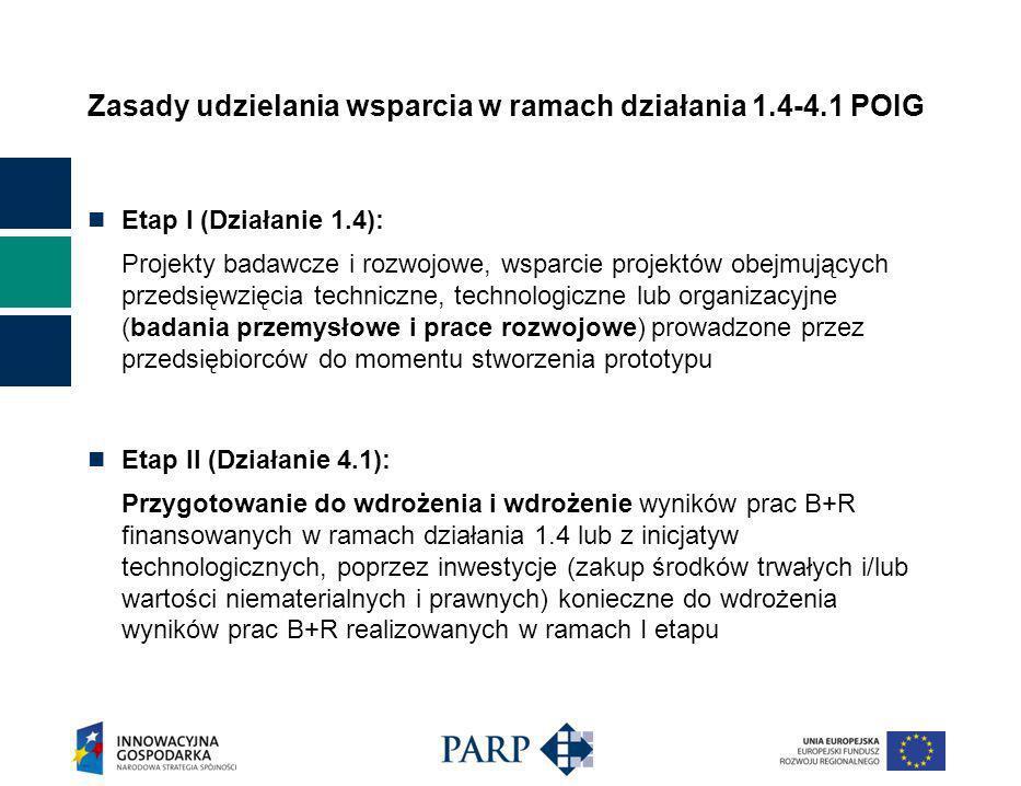 Zasady udzielania wsparcia w ramach działania 1.4-4.1 POIG Etap I (Działanie 1.4): Projekty badawcze i rozwojowe, wsparcie projektów obejmujących przedsięwzięcia techniczne, technologiczne lub organizacyjne (badania przemysłowe i prace rozwojowe) prowadzone przez przedsiębiorców do momentu stworzenia prototypu Etap II (Działanie 4.1): Przygotowanie do wdrożenia i wdrożenie wyników prac B+R finansowanych w ramach działania 1.4 lub z inicjatyw technologicznych, poprzez inwestycje (zakup środków trwałych i/lub wartości niematerialnych i prawnych) konieczne do wdrożenia wyników prac B+R realizowanych w ramach I etapu