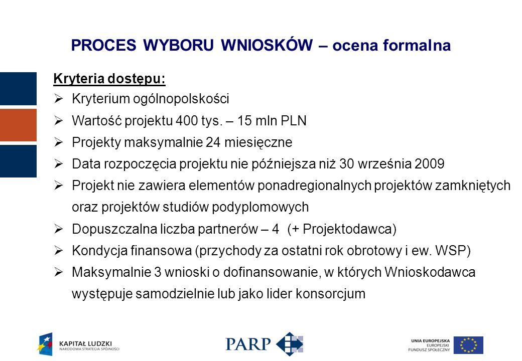 Kryteria dostępu: Kryterium ogólnopolskości Wartość projektu 400 tys.