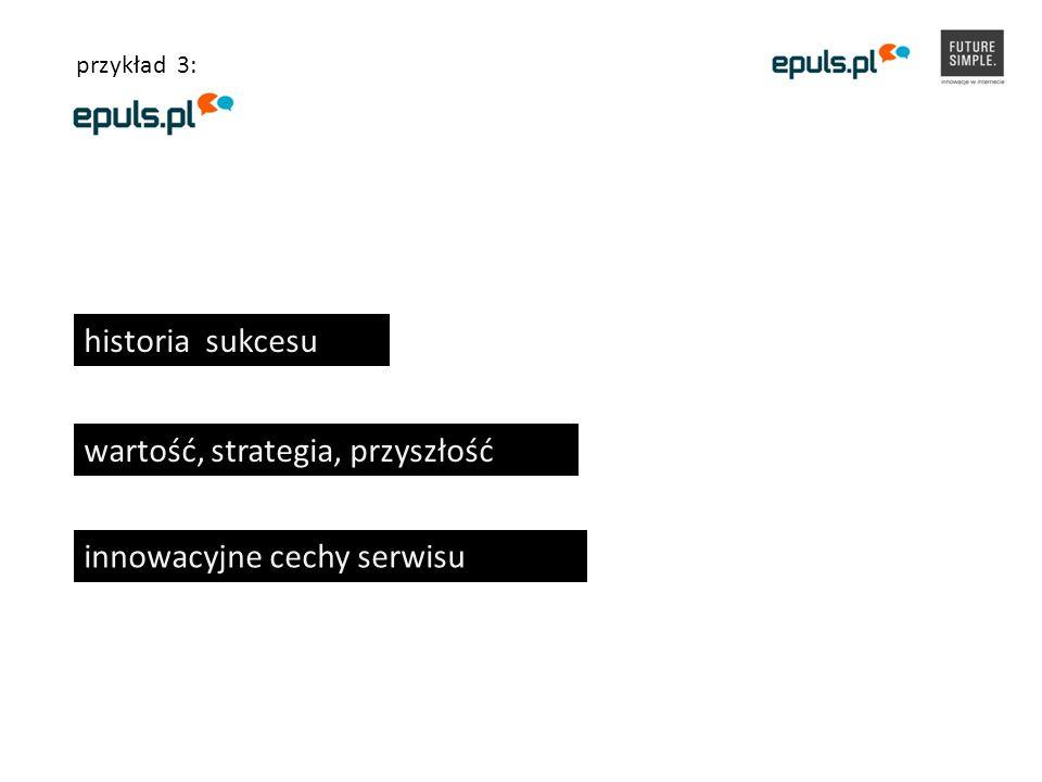 historia sukcesu wartość, strategia, przyszłość innowacyjne cechy serwisu przykład 3: