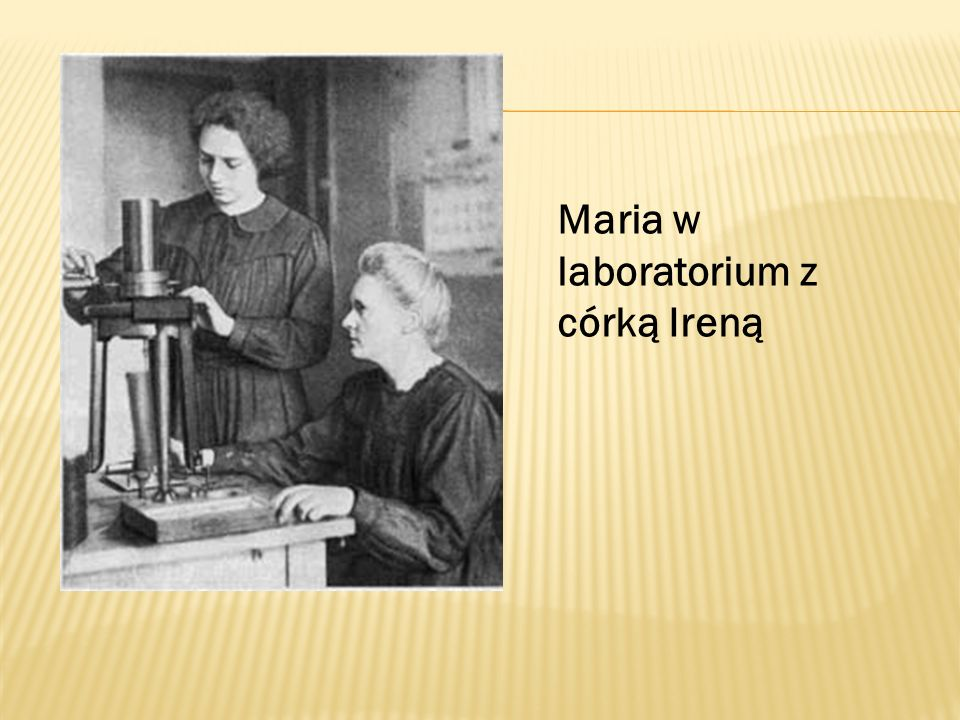 Maria w laboratorium z córką Ireną