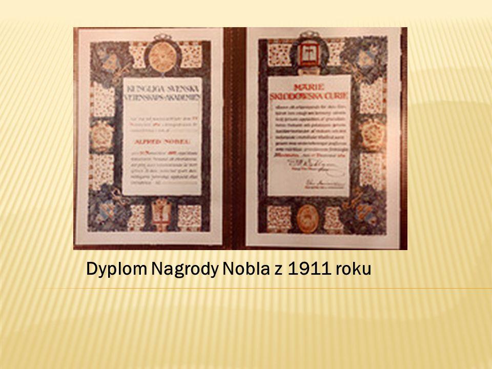 Dyplom Nagrody Nobla z 1911 roku