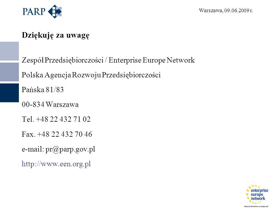 Dziękuję za uwagę Zespół Przedsiębiorczości / Enterprise Europe Network Polska Agencja Rozwoju Przedsiębiorczości Pańska 81/83 00-834 Warszawa Tel. +4