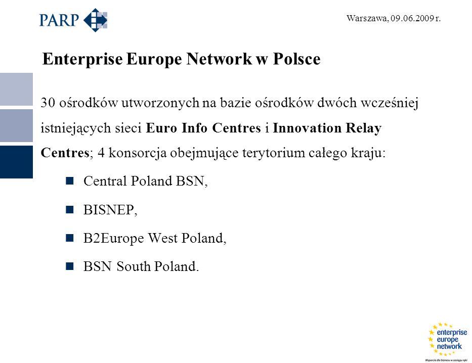 Warszawa, 09.06.2009 r. Enterprise Europe Network w Polsce 30 ośrodków utworzonych na bazie ośrodków dwóch wcześniej istniejących sieci Euro Info Cent