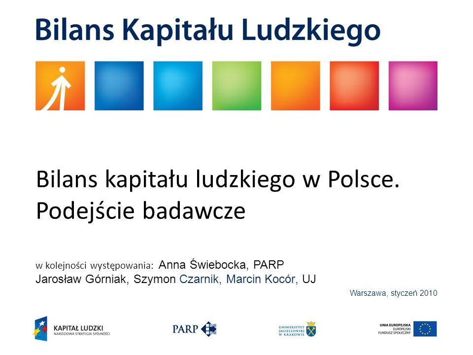 Warszawa, styczeń 2010 Bilans kapitału ludzkiego w Polsce. Podejście badawcze w kolejności występowania: Anna Świebocka, PARP Jarosław Górniak, Szymon