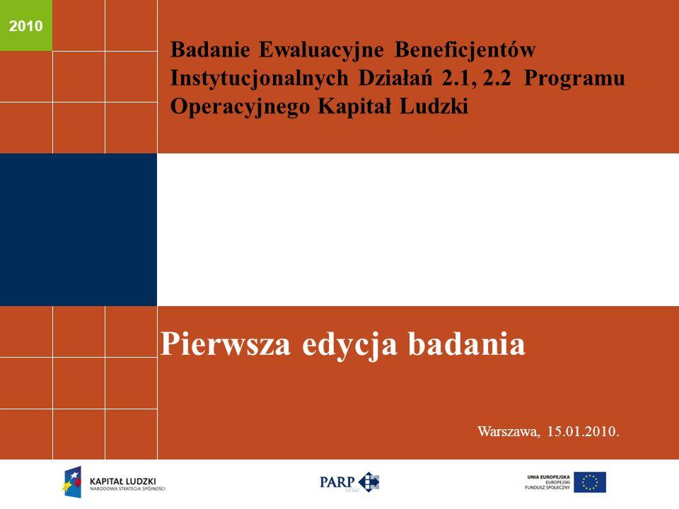 2010 Badanie Ewaluacyjne Beneficjentów Instytucjonalnych Działań 2.1, 2.2 Programu Operacyjnego Kapitał Ludzki Warszawa, 15.01.2010.