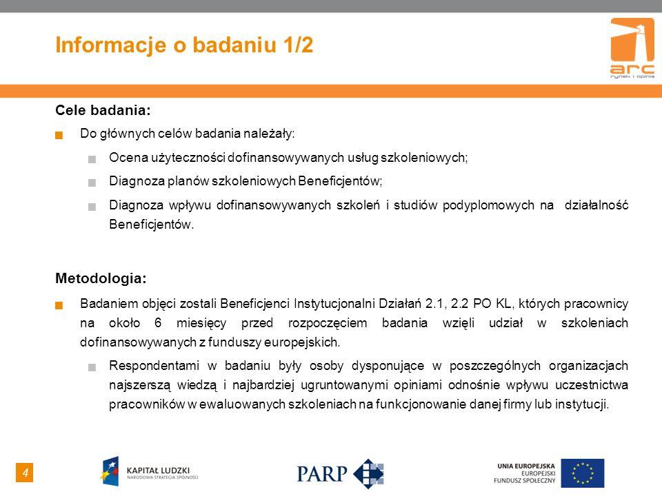 4 4 Informacje o badaniu 1/2 Cele badania: Do głównych celów badania należały: Ocena użyteczności dofinansowywanych usług szkoleniowych; Diagnoza plan