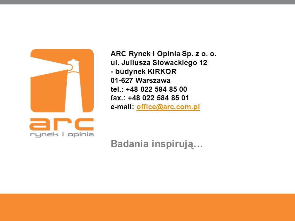 40 ARC Rynek i Opinia Sp. z o. o. ul. Juliusza Słowackiego 12 - budynek KIRKOR 01-627 Warszawa tel.: +48 022 584 85 00 fax.: +48 022 584 85 01 e-mail: