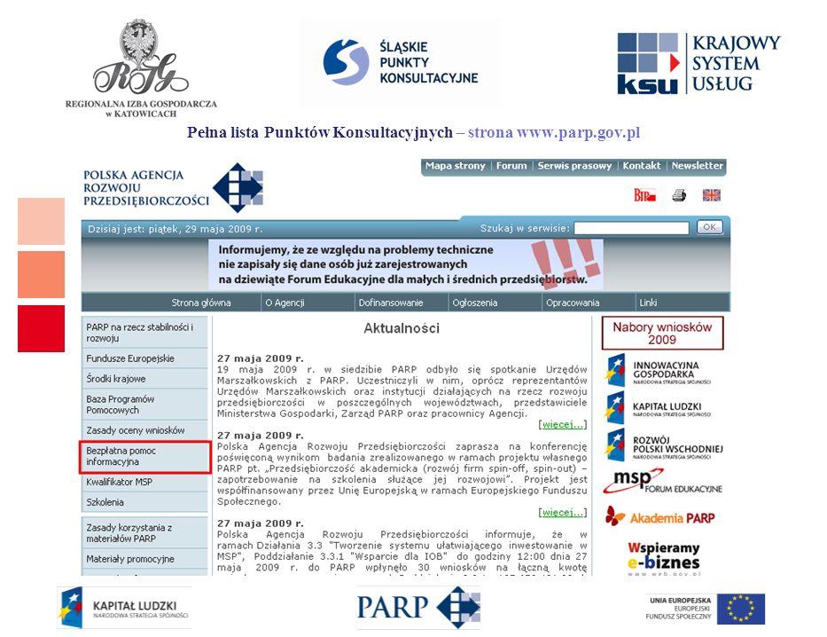 Pełna lista Punktów Konsultacyjnych – strona www.parp.gov.pl