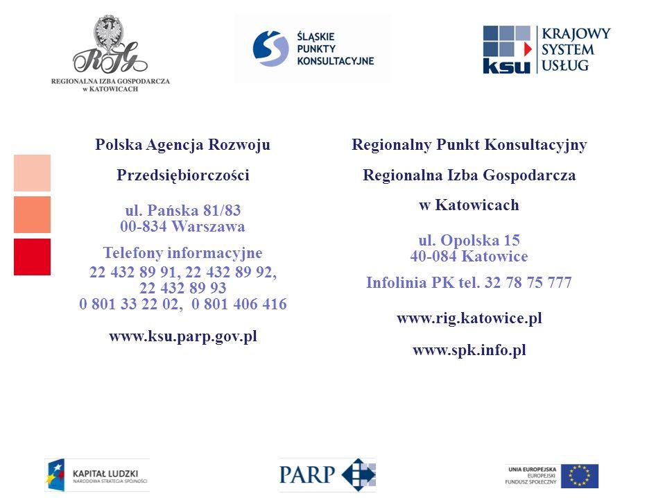Polska Agencja Rozwoju Przedsiębiorczości ul. Pańska 81/83 00-834 Warszawa Telefony informacyjne 22 432 89 91, 22 432 89 92, 22 432 89 93 0 801 33 22