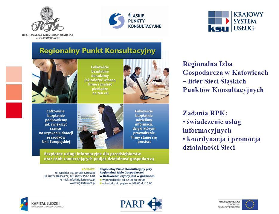 Regionalna Izba Gospodarcza w Katowicach – lider Sieci Śląskich Punktów Konsultacyjnych Zadania RPK: świadczenie usług informacyjnych koordynacja i pr