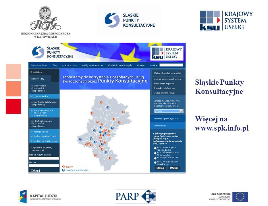Zakres i rodzaje usług informacyjnych świadczonych przez PK rozpoczynanie i wykonywanie działalności gospodarczej lub rezygnacja z prowadzenia działalności gospodarczej możliwości uzyskania wsparcia ze środków publicznych na realizację projektów w latach 2007-2013 możliwości i zasady korzystania z usług specjalistycznych inne przydatne informacje