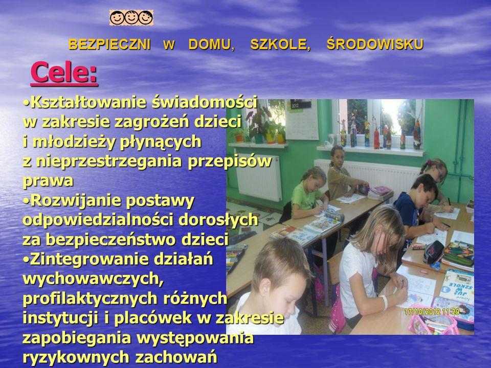 Cele c.d.: Uświadomienie dorosłym uczestniczącym w procesie wychowawczym i dzieciom istnienia niebezpieczeństw takich jak: uzależnienia od internetu, używek, przemoc oraz ich konsekwencji dla rozwoju dzieci (choroby psychiczne, utrata zdrowia i życia).Uświadomienie dorosłym uczestniczącym w procesie wychowawczym i dzieciom istnienia niebezpieczeństw takich jak: uzależnienia od internetu, używek, przemoc oraz ich konsekwencji dla rozwoju dzieci (choroby psychiczne, utrata zdrowia i życia).