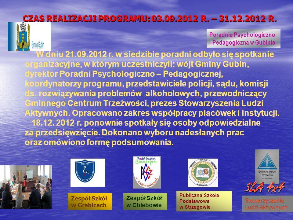 W dniu 21.09.2012 r. w siedzibie poradni odbyło się spotkanie organizacyjne, w którym uczestniczyli: wójt Gminy Gubin, dyrektor Poradni Psychologiczno