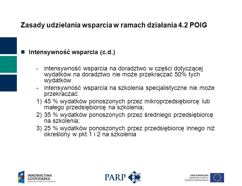 Zasady udzielania wsparcia w ramach działania 4.2 POIG Intensywność wsparcia (c.d.) - intensywność wsparcia na doradztwo w części dotyczącej wydatków na doradztwo nie może przekraczać 50% tych wydatków -intensywność wsparcia na szkolenia specjalistyczne nie może przekraczać: 1)45 % wydatków ponoszonych przez mikroprzedsiębiorcę lub małego przedsiębiorcę na szkolenia; 2)35 % wydatków ponoszonych przez średniego przedsiębiorcę na szkolenia; 3)25 % wydatków ponoszonych przez przedsiębiorcę innego niż określony w pkt 1 i 2 na szkolenia