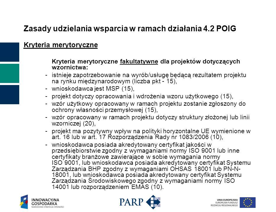 Zasady udzielania wsparcia w ramach działania 4.2 POIG Kryteria merytoryczne Kryteria merytoryczne fakultatywne dla projektów dotyczących wzornictwa: - istnieje zapotrzebowanie na wyrób/usługę będącą rezultatem projektu na rynku międzynarodowym (liczba pkt - 15), - wnioskodawca jest MSP (15), - projekt dotyczy opracowania i wdrożenia wzoru użytkowego (15), - wzór użytkowy opracowany w ramach projektu zostanie zgłoszony do ochrony własności przemysłowej (15), - wzór opracowany w ramach projektu dotyczy struktury złożonej lub linii wzorniczej (20), - projekt ma pozytywny wpływ na polityki horyzontalne UE wymienione w art.