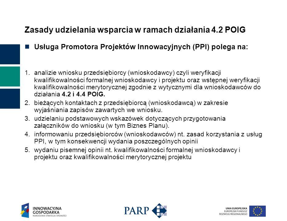 Zasady udzielania wsparcia w ramach działania 4.2 POIG Usługa Promotora Projektów Innowacyjnych (PPI) polega na: 1.