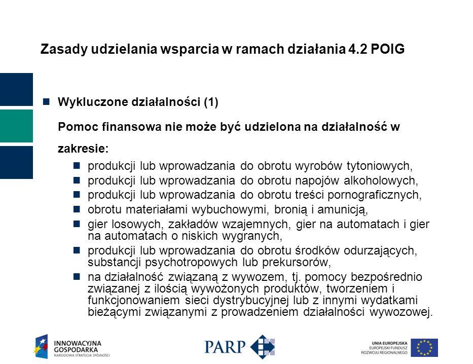 Zasady udzielania wsparcia w ramach działania 4.2 POIG Maksymalna kwota dofinansowania dla jednego przedsiębiorcy na jeden projekt w zakresie wzornictwa: Wsparcie na inwestycje21 mln zł Wsparcie na doradztwo600 tys.