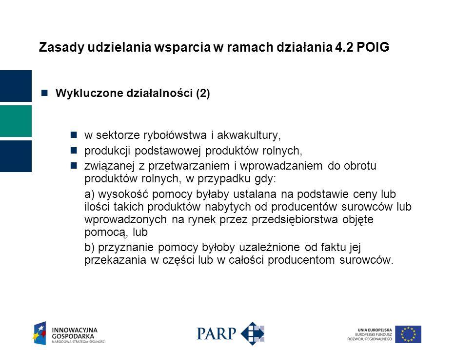 Zasady udzielania wsparcia w ramach działania 4.2 POIG Wykluczone działalności (2) w sektorze rybołówstwa i akwakultury, produkcji podstawowej produktów rolnych, związanej z przetwarzaniem i wprowadzaniem do obrotu produktów rolnych, w przypadku gdy: a) wysokość pomocy byłaby ustalana na podstawie ceny lub ilości takich produktów nabytych od producentów surowców lub wprowadzonych na rynek przez przedsiębiorstwa objęte pomocą, lub b) przyznanie pomocy byłoby uzależnione od faktu jej przekazania w części lub w całości producentom surowców.