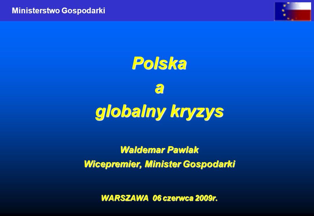 Ministerstwo Gospodarki Polskaa globalny kryzys Waldemar Pawlak Wicepremier, Minister Gospodarki WARSZAWA 06 czerwca 2009r.