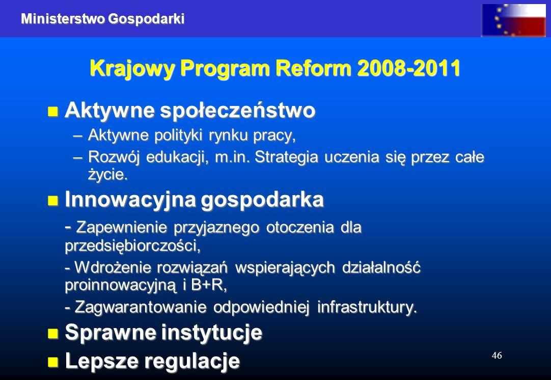 Ministerstwo Gospodarki 46 Krajowy Program Reform 2008-2011 Aktywne społeczeństwo Aktywne społeczeństwo –Aktywne polityki rynku pracy, –Rozwój edukacji, m.in.