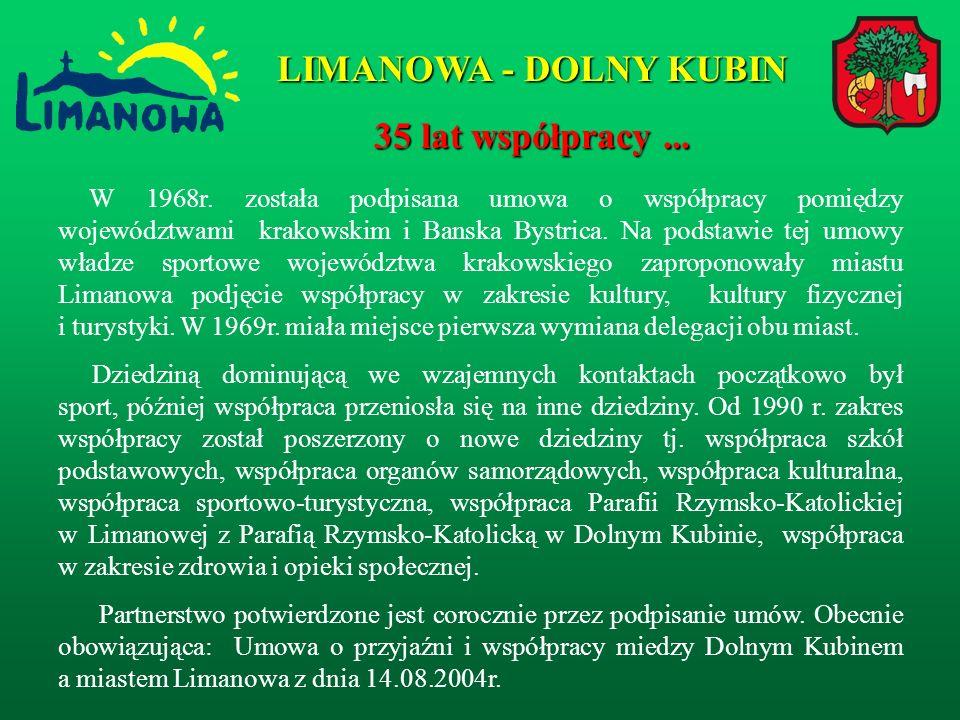 W 1968r.została podpisana umowa o współpracy pomiędzy województwami krakowskim i Banska Bystrica.