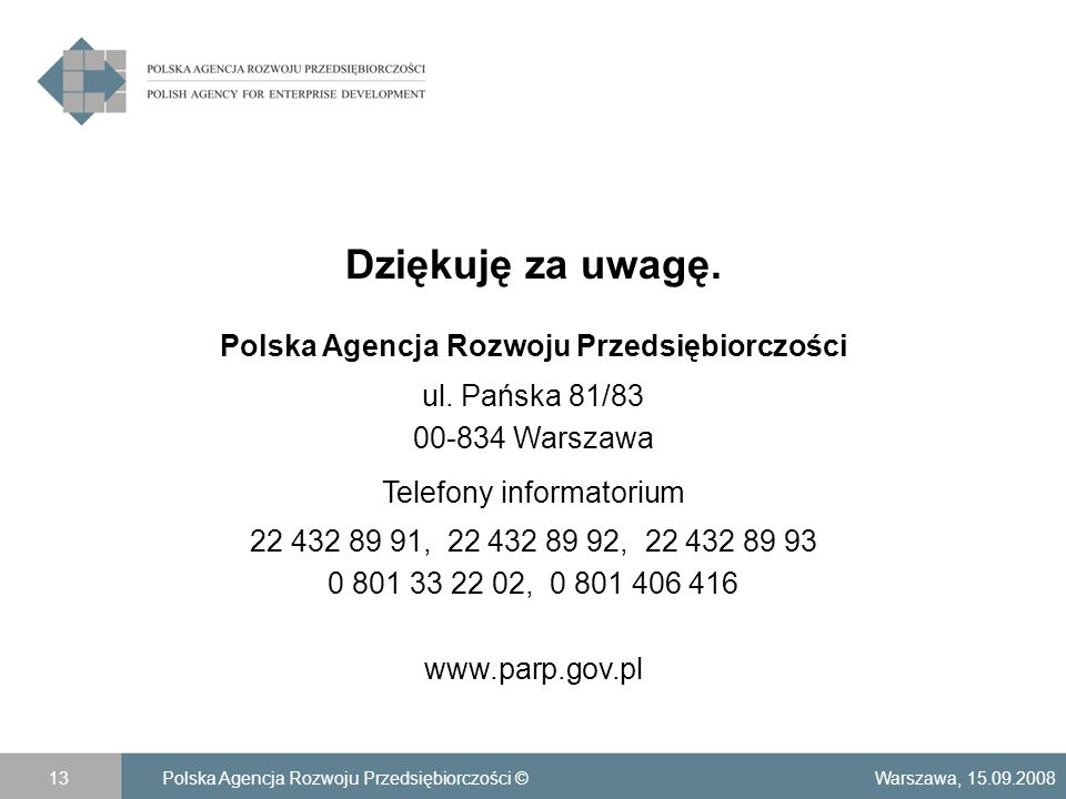 Dziękuję za uwagę. Polska Agencja Rozwoju Przedsiębiorczości ul.