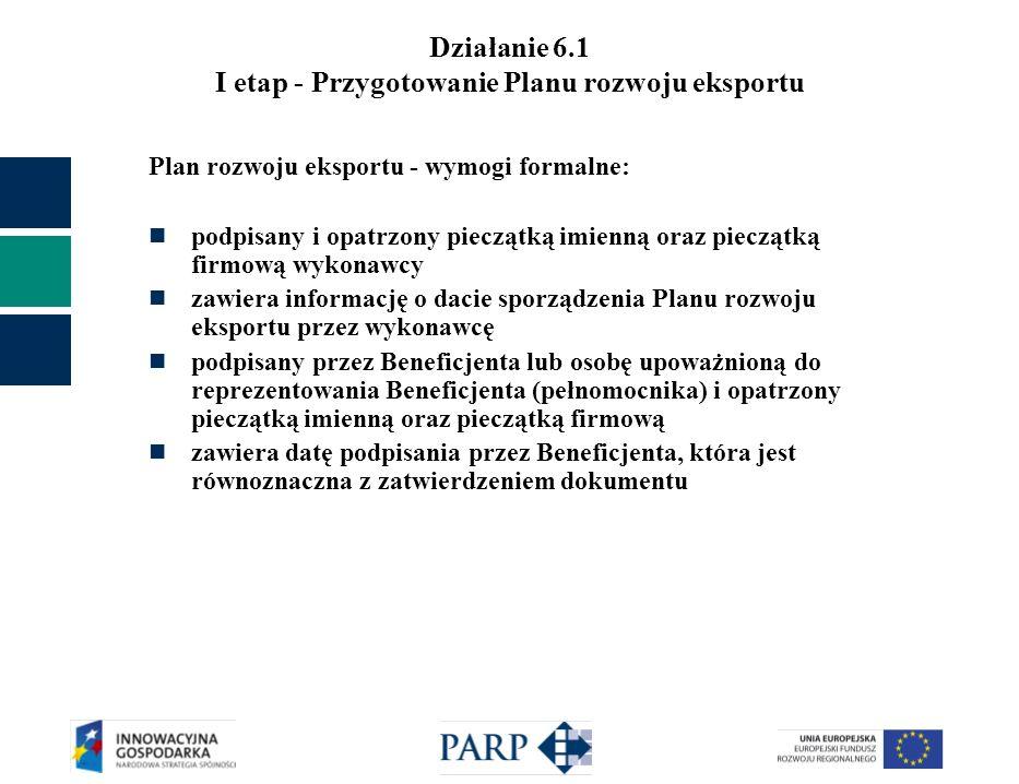 Działanie 6.1 I etap - Przygotowanie Planu rozwoju eksportu Plan rozwoju eksportu - wymogi formalne: podpisany i opatrzony pieczątką imienną oraz pieczątką firmową wykonawcy zawiera informację o dacie sporządzenia Planu rozwoju eksportu przez wykonawcę podpisany przez Beneficjenta lub osobę upoważnioną do reprezentowania Beneficjenta (pełnomocnika) i opatrzony pieczątką imienną oraz pieczątką firmową zawiera datę podpisania przez Beneficjenta, która jest równoznaczna z zatwierdzeniem dokumentu