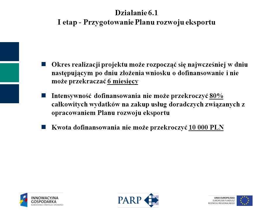 Działanie 6.1 I etap - Przygotowanie Planu rozwoju eksportu Okres realizacji projektu może rozpocząć się najwcześniej w dniu następującym po dniu złożenia wniosku o dofinansowanie i nie może przekraczać 6 miesięcy Intensywność dofinansowania nie może przekroczyć 80% całkowitych wydatków na zakup usług doradczych związanych z opracowaniem Planu rozwoju eksportu Kwota dofinansowania nie może przekroczyć 10 000 PLN