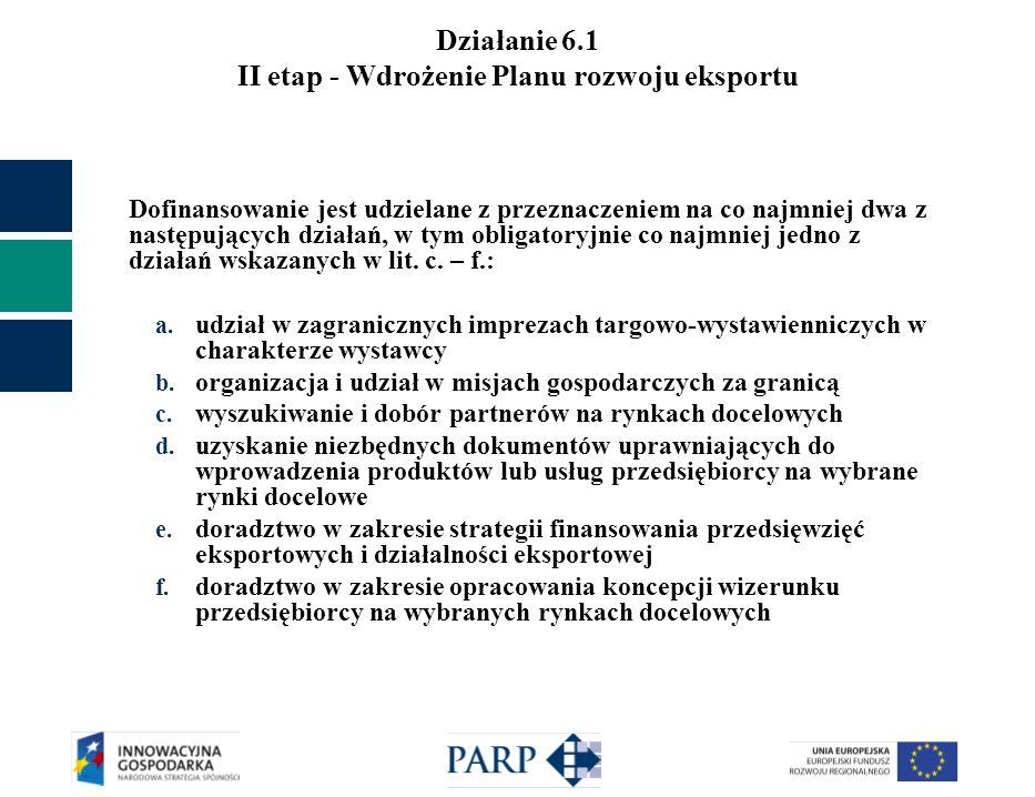 Działanie 6.1 II etap - Wdrożenie Planu rozwoju eksportu Dofinansowanie jest udzielane z przeznaczeniem na co najmniej dwa z następujących działań, w