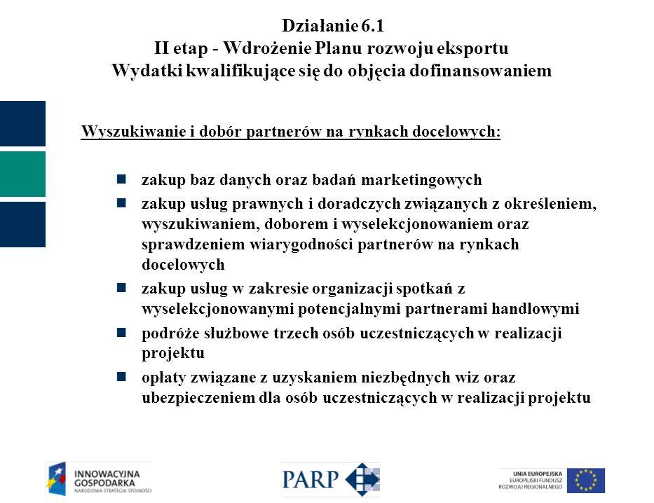Działanie 6.1 II etap - Wdrożenie Planu rozwoju eksportu Wydatki kwalifikujące się do objęcia dofinansowaniem Wyszukiwanie i dobór partnerów na rynkach docelowych: zakup baz danych oraz badań marketingowych zakup usług prawnych i doradczych związanych z określeniem, wyszukiwaniem, doborem i wyselekcjonowaniem oraz sprawdzeniem wiarygodności partnerów na rynkach docelowych zakup usług w zakresie organizacji spotkań z wyselekcjonowanymi potencjalnymi partnerami handlowymi podróże służbowe trzech osób uczestniczących w realizacji projektu opłaty związane z uzyskaniem niezbędnych wiz oraz ubezpieczeniem dla osób uczestniczących w realizacji projektu