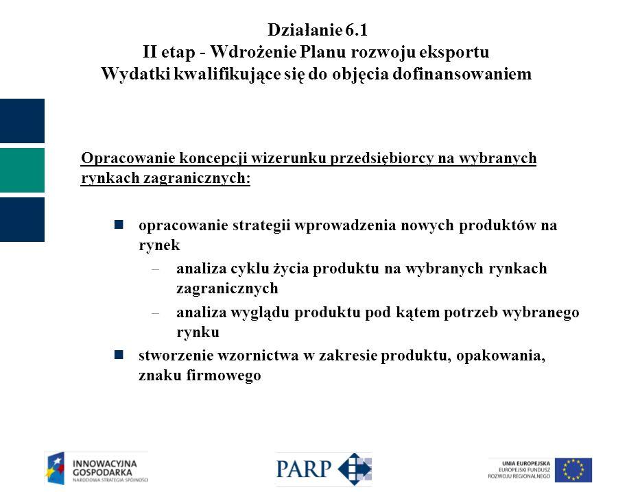 Działanie 6.1 II etap - Wdrożenie Planu rozwoju eksportu Wydatki kwalifikujące się do objęcia dofinansowaniem Opracowanie koncepcji wizerunku przedsiębiorcy na wybranych rynkach zagranicznych: opracowanie strategii wprowadzenia nowych produktów na rynek – analiza cyklu życia produktu na wybranych rynkach zagranicznych – analiza wyglądu produktu pod kątem potrzeb wybranego rynku stworzenie wzornictwa w zakresie produktu, opakowania, znaku firmowego