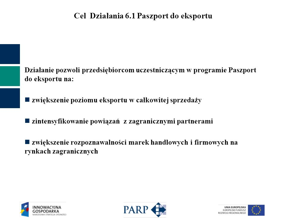 Cel Działania 6.1 Paszport do eksportu Działanie pozwoli przedsiębiorcom uczestniczącym w programie Paszport do eksportu na: zwiększenie poziomu eksportu w całkowitej sprzedaży zintensyfikowanie powiązań z zagranicznymi partnerami zwiększenie rozpoznawalności marek handlowych i firmowych na rynkach zagranicznych