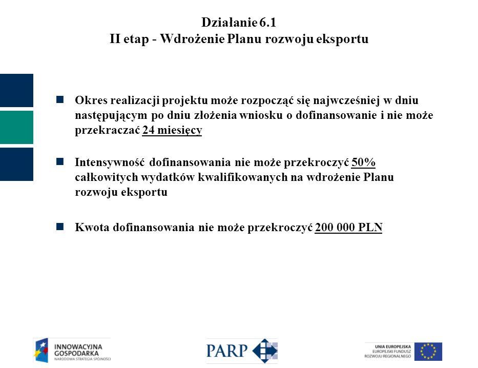 Działanie 6.1 II etap - Wdrożenie Planu rozwoju eksportu Okres realizacji projektu może rozpocząć się najwcześniej w dniu następującym po dniu złożenia wniosku o dofinansowanie i nie może przekraczać 24 miesięcy Intensywność dofinansowania nie może przekroczyć 50% całkowitych wydatków kwalifikowanych na wdrożenie Planu rozwoju eksportu Kwota dofinansowania nie może przekroczyć 200 000 PLN