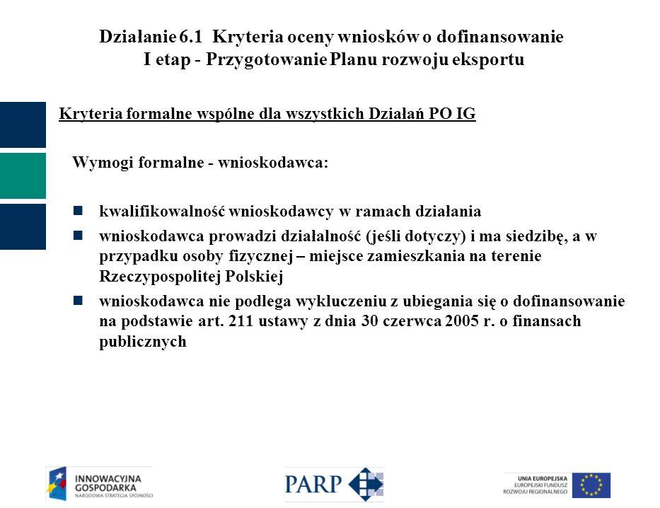 Działanie 6.1 Kryteria oceny wniosków o dofinansowanie I etap - Przygotowanie Planu rozwoju eksportu Kryteria formalne wspólne dla wszystkich Działań PO IG Wymogi formalne - wnioskodawca: kwalifikowalność wnioskodawcy w ramach działania wnioskodawca prowadzi działalność (jeśli dotyczy) i ma siedzibę, a w przypadku osoby fizycznej – miejsce zamieszkania na terenie Rzeczypospolitej Polskiej wnioskodawca nie podlega wykluczeniu z ubiegania się o dofinansowanie na podstawie art.