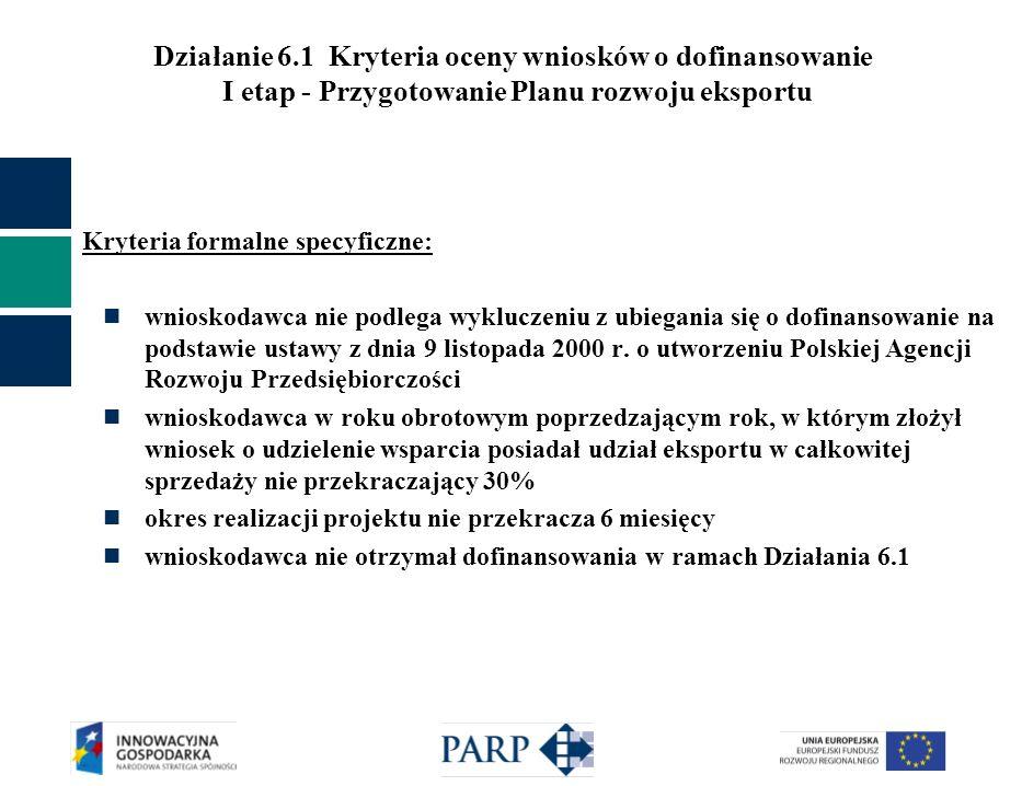 Działanie 6.1 Kryteria oceny wniosków o dofinansowanie I etap - Przygotowanie Planu rozwoju eksportu Kryteria formalne specyficzne: wnioskodawca nie p
