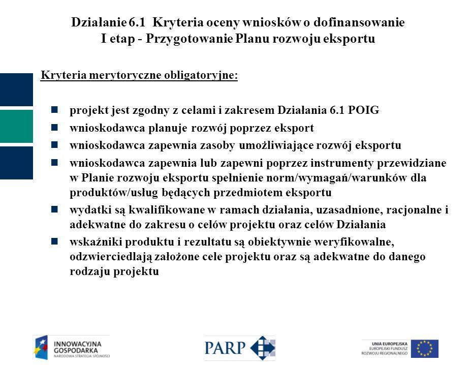 Działanie 6.1 Kryteria oceny wniosków o dofinansowanie I etap - Przygotowanie Planu rozwoju eksportu Kryteria merytoryczne obligatoryjne: projekt jest