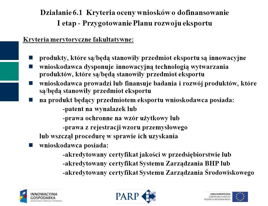 Działanie 6.1 Kryteria oceny wniosków o dofinansowanie I etap - Przygotowanie Planu rozwoju eksportu Kryteria merytoryczne fakultatywne: produkty, któ