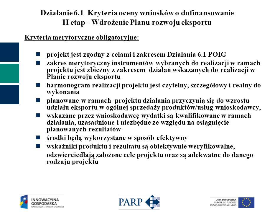 Działanie 6.1 Kryteria oceny wniosków o dofinansowanie II etap - Wdrożenie Planu rozwoju eksportu Kryteria merytoryczne obligatoryjne: projekt jest zg