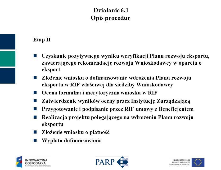 Działanie 6.1 Opis procedur Etap II Uzyskanie pozytywnego wyniku weryfikacji Planu rozwoju eksportu, zawierającego rekomendację rozwoju Wnioskodawcy w oparciu o eksport Złożenie wniosku o dofinansowanie wdrożenia Planu rozwoju eksportu w RIF właściwej dla siedziby Wnioskodawcy Ocena formalna i merytoryczna wniosku w RIF Zatwierdzenie wyników oceny przez Instytucję Zarządzającą Przygotowanie i podpisanie przez RIF umowy z Beneficjentem Realizacja projektu polegającego na wdrożeniu Planu rozwoju eksportu Złożenie wniosku o płatność Wypłata dofinansowania