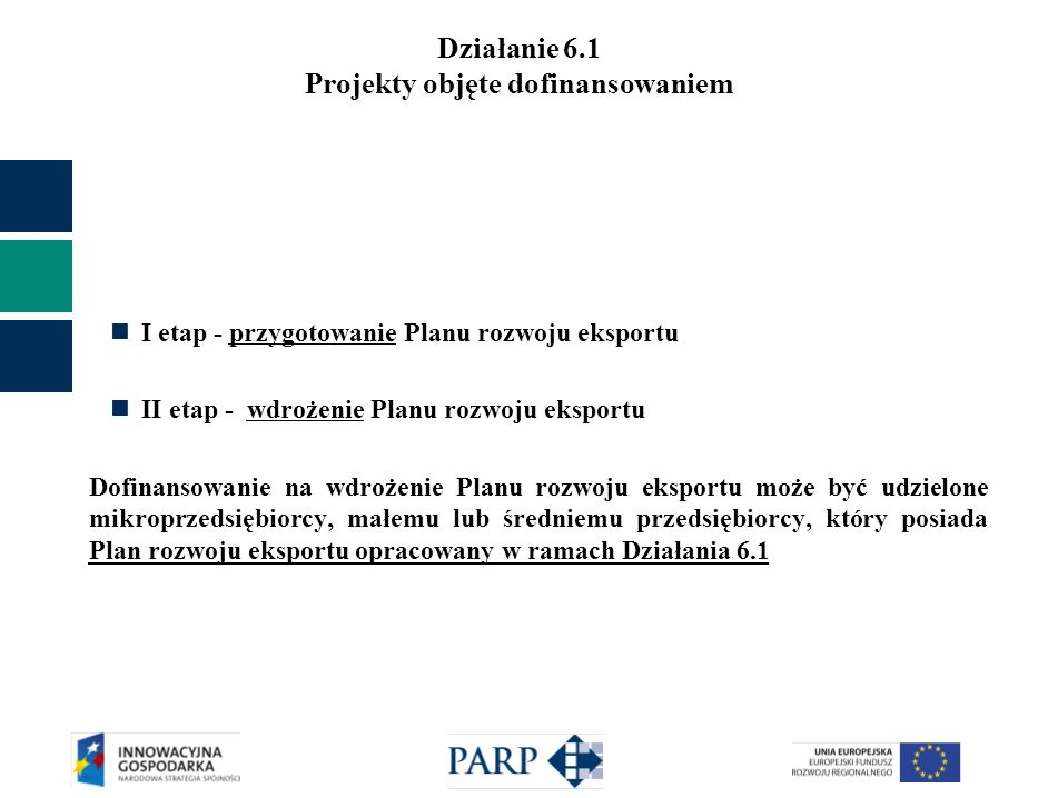 Działanie 6.1 Projekty objęte dofinansowaniem I etap - przygotowanie Planu rozwoju eksportu II etap - wdrożenie Planu rozwoju eksportu Dofinansowanie na wdrożenie Planu rozwoju eksportu może być udzielone mikroprzedsiębiorcy, małemu lub średniemu przedsiębiorcy, który posiada Plan rozwoju eksportu opracowany w ramach Działania 6.1