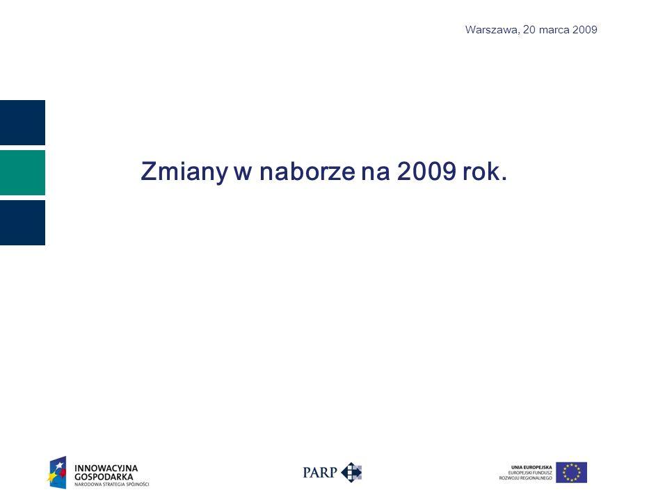 Warszawa, 2 0 marca 2009 Zmiany w naborze na 2009 rok.