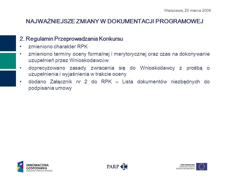 Warszawa, 2 0 marca 2009 NAJWAŻNIEJSZE ZMIANY W DOKUMENTACJI PROGRAMOWEJ 2.