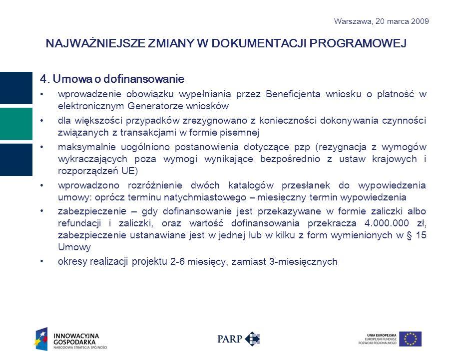 Warszawa, 2 0 marca 2009 NAJWAŻNIEJSZE ZMIANY W DOKUMENTACJI PROGRAMOWEJ 4.