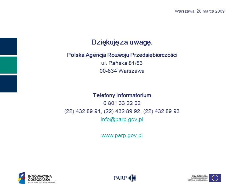 Warszawa, 2 0 marca 2009 Dziękuję za uwagę. Polska Agencja Rozwoju Przedsiębiorczości ul.
