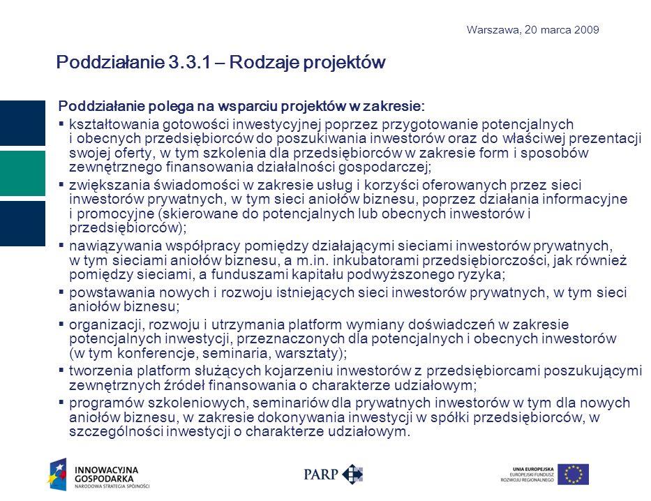 Warszawa, 2 0 marca 2009 KRYTERIA MERYTORYCZNE OBLIGATORYJNE 3.3.1 KryteriumOpis kryteriumCharakter zmiany Wnioskodawca zapewnia personel posiadający wiedzę i przynajmniej roczne doświadczenie w dokonywaniu inwestycji w spółki sektora mikro, małych i średnich przedsiębiorców rozpoczynających działalność gospodarczą i nie notowanych na rynku publicznym poprzez nabywanie lub zbywanie akcji lub udziałów w tych spółkach Na podstawie informacji zawartych we wniosku o dofinansowanie oraz wykazu kluczowych osób wraz z informacjami na temat ich kwalifikacji zawodowych, doświadczenia i wykształcenia, niezbędnych do wykonywania powierzonych czynności związanych z realizacją projektu ocenia się czy Wnioskodawca dysponuje zasobami kadrowymi zdolnymi do realizacji projektu w danym zakresie.