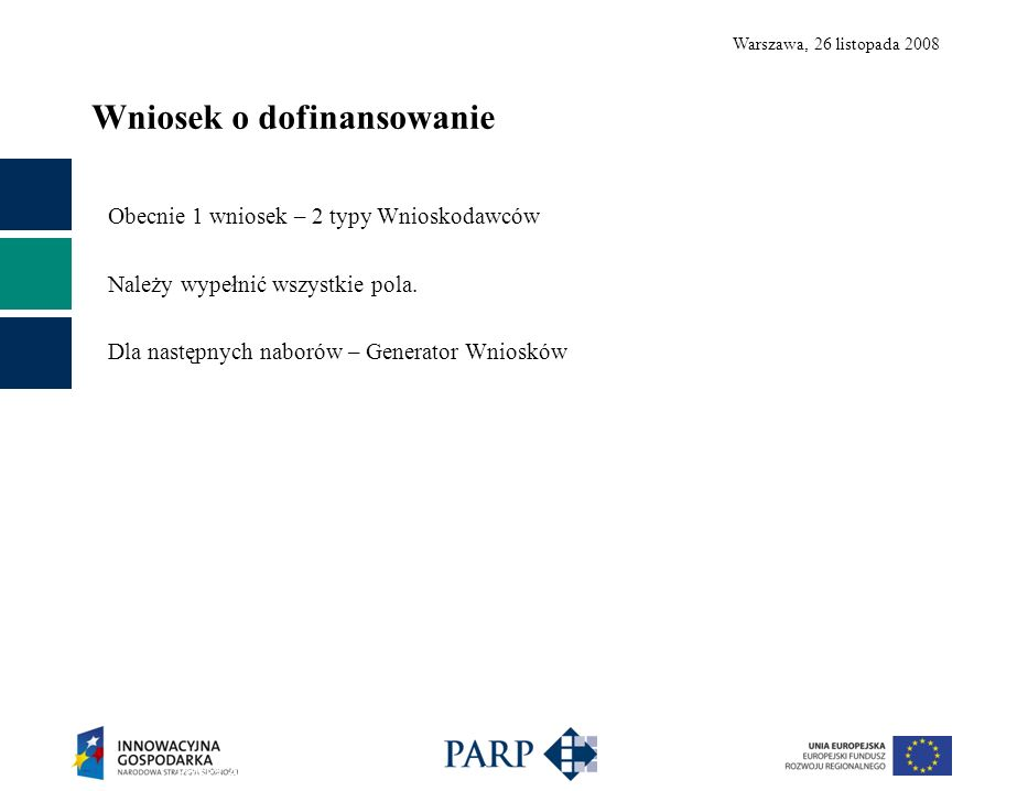 Warszawa, 26 listopada 2008 Wniosek o dofinansowanie Polska Agencja Rozwoju Przedsiębiorczości ©14 Obecnie 1 wniosek – 2 typy Wnioskodawców Należy wypełnić wszystkie pola.