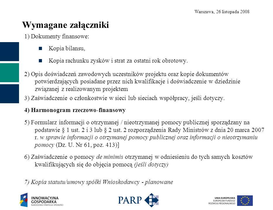 Warszawa, 26 listopada 2008 Wymagane załączniki 1) Dokumenty finansowe: Kopia bilansu, Kopia rachunku zysków i strat za ostatni rok obrotowy. 2) Opis